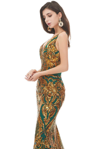 Image of Mermaid Prom Dresses Brilliant Sequins Embellished V-Neck-2 - 4