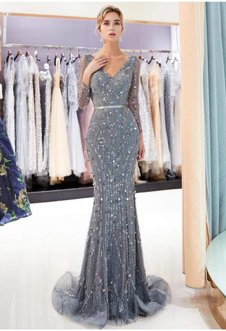 Image of Brilliant V-Neck Mermaid Party Dresses with Rhinestones Sequins Embellished Tulle - 1