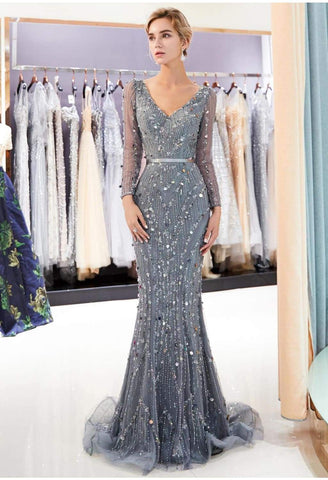 Image of Brilliant V-Neck Mermaid Party Dresses with Rhinestones Sequins Embellished Tulle - 7