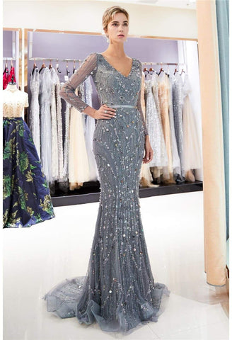 Image of Brilliant V-Neck Mermaid Party Dresses with Rhinestones Sequins Embellished Tulle - 5