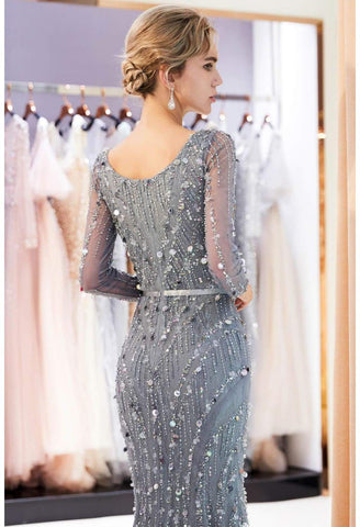 Image of Brilliant V-Neck Mermaid Party Dresses with Rhinestones Sequins Embellished Tulle - 4