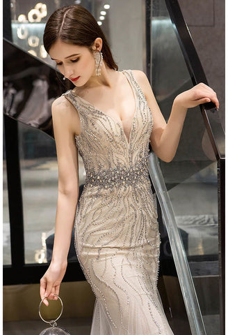 Image of Mermaid Prom Dresses Gorgeous Rhinestones Embellished with Tulle - 3
