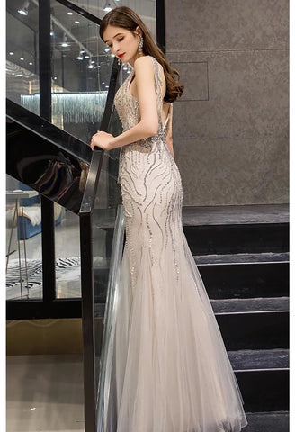 Image of Mermaid Prom Dresses Gorgeous Rhinestones Embellished with Tulle - 5