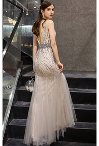 Mermaid Prom Dresses Gorgeous Rhinestones Embellished with Tulle - 2