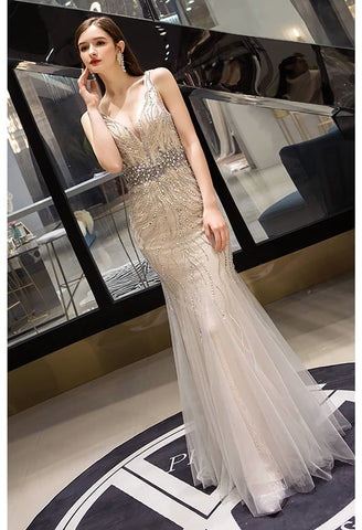 Image of Mermaid Prom Dresses Gorgeous Rhinestones Embellished with Tulle - 6