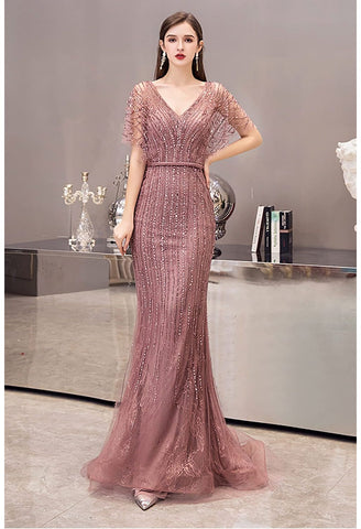 Image of Mermaid Prom Dresses Junoesque Rhinestones with Chic Sleeves - 6