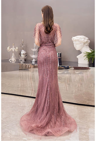 Image of Mermaid Prom Dresses Junoesque Rhinestones with Chic Sleeves - 2