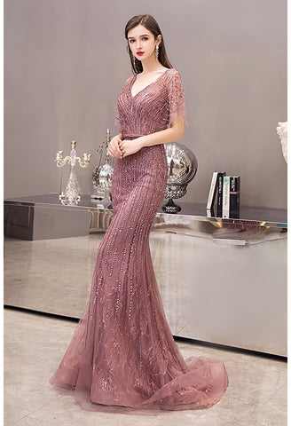 Image of Mermaid Prom Dresses Junoesque Rhinestones with Chic Sleeves - 1