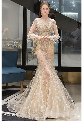 Image of Mermaid Prom Dresses Junoesque Rhinestones with Chic Tassels Tulle - 3