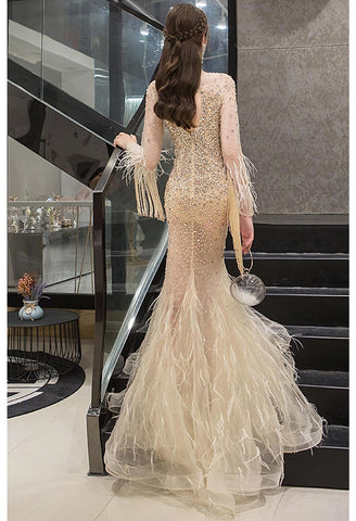 Image of Mermaid Prom Dresses Junoesque Rhinestones with Chic Tassels Tulle - 2