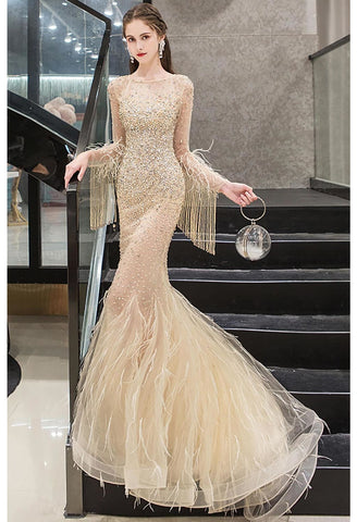 Image of Mermaid Prom Dresses Junoesque Rhinestones with Chic Tassels Tulle - 7