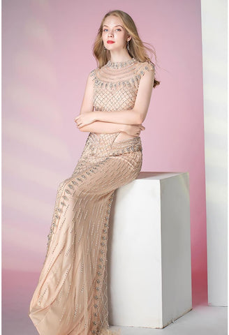 Image of Mermaid Prom Dresses Shimmering Rhinestones Embellished High Neck - 5