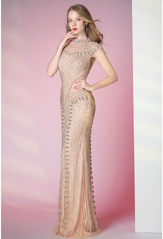 Mermaid Prom Dresses Shimmering Rhinestones Embellished High Neck - 4