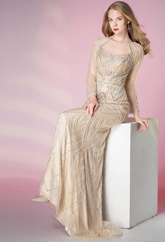 Image of Mermaid Prom Dresses Shimmering Rhinestones Long Sleeves - 3