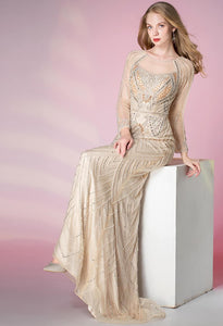 Mermaid Prom Dresses Shimmering Rhinestones Long Sleeves - 3