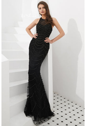 Image of Mermaid Prom Dresses Stunning Halter Neckline with Rhinestones Embellished Tulle - 1