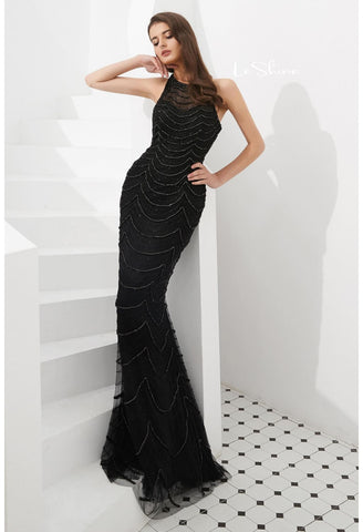 Image of Mermaid Prom Dresses Stunning Halter Neckline with Rhinestones Embellished Tulle - 4
