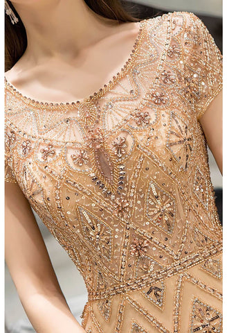 Image of Mermaid Prom Dresses Stunning Rhinestones Embellished Scoop Neckline - 7
