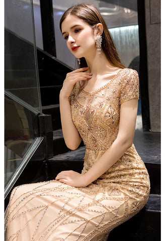 Image of Mermaid Prom Dresses Stunning Rhinestones Embellished Scoop Neckline - 3