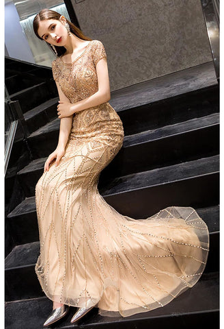 Image of Mermaid Prom Dresses Stunning Rhinestones Embellished Scoop Neckline - 1