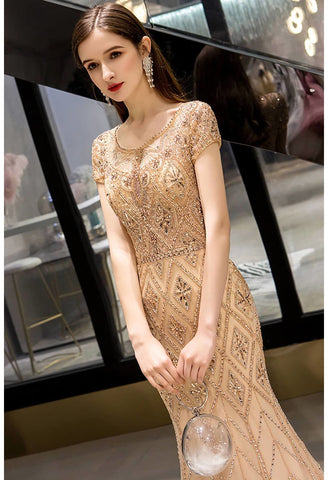 Image of Mermaid Prom Dresses Stunning Rhinestones Embellished Scoop Neckline - 4