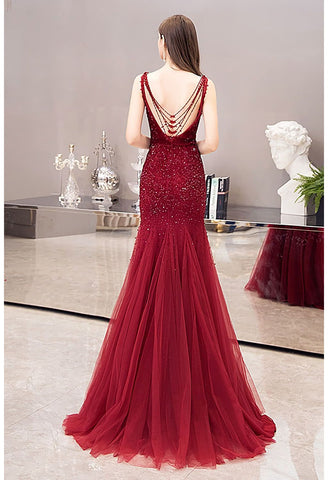 Image of Mermaid Prom Dresses Stunning Rhinestones Scoop Neckline - 2