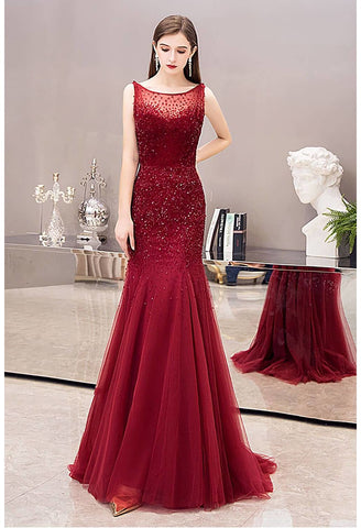 Image of Mermaid Prom Dresses Stunning Rhinestones Scoop Neckline - 5