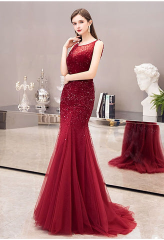 Image of Mermaid Prom Dresses Stunning Rhinestones Scoop Neckline - 1