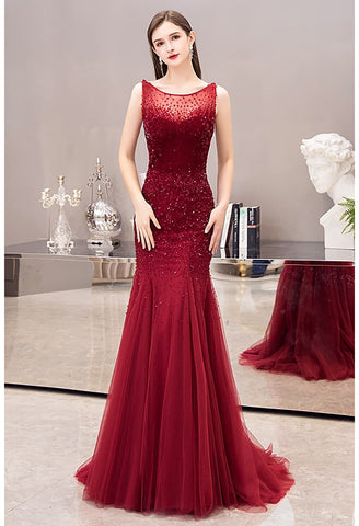 Image of Mermaid Prom Dresses Stunning Rhinestones Scoop Neckline - 3
