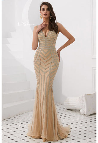 Image of Mermaid Prom Dresses Stunning Rhinestones V-Neck - 6