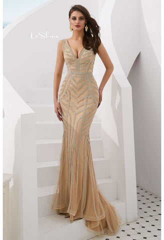 Image of Mermaid Prom Dresses Stunning Rhinestones V-Neck - 8