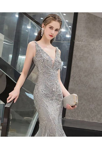 Image of Mermaid Prom Dresses Stunning Rhinestones V-Neck with Chic Tassels Hemline - 3