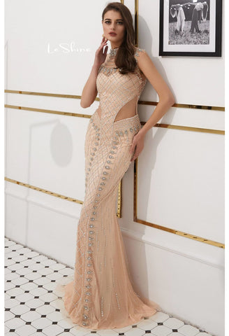Image of Mermaid Prom Dresses Stunning Sheer Neckline with Rhinestones Embellished Tulle - 5
