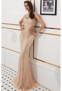 Mermaid Prom Dresses Stunning Sheer Neckline with Rhinestones Embellished Tulle - 1
