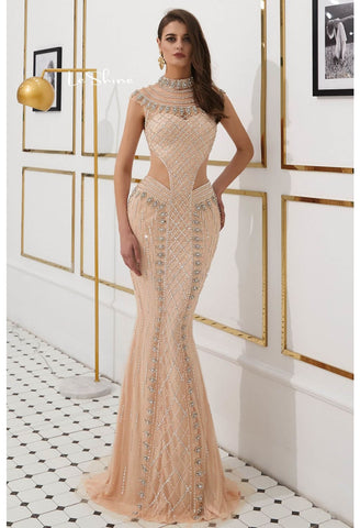 Image of Mermaid Prom Dresses Stunning Sheer Neckline with Rhinestones Embellished Tulle - 3