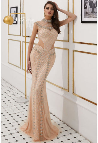 Image of Mermaid Prom Dresses Stunning Sheer Neckline with Rhinestones Embellished Tulle - 4