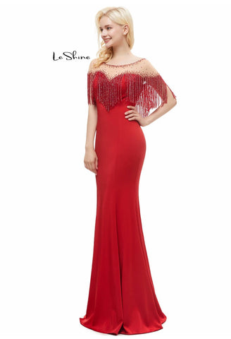 Image of Mermaid Prom Dresses Stunning Sweetheart Neckline with Beaded Tassels - 4