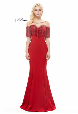 Image of Mermaid Prom Dresses Stunning Sweetheart Neckline with Beaded Tassels - 3