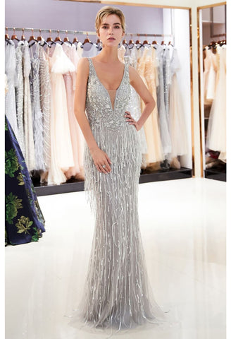 Image of Mermaid Prom Dresses Stunning V-Neck with Tassels Tulle - 6