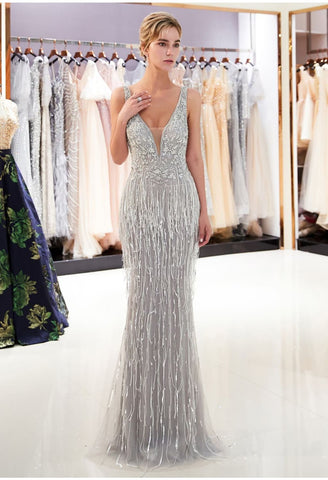 Image of Mermaid Prom Dresses Stunning V-Neck with Tassels Tulle - 1