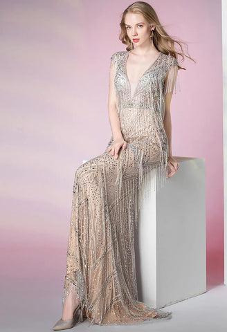 Image of Mermaid Prom Dresses V-Neck Swing Tassels - 4