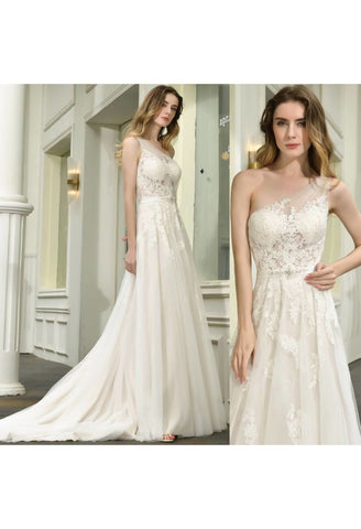 Image of Modern Bride Dresses Glamorous Embroidery Lace One Shoulder A-Line - 7