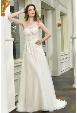 Image of Modern Bride Dresses Glamorous Embroidery Lace One Shoulder A-Line - 6