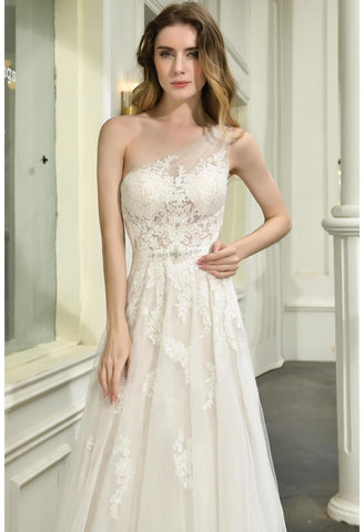 Image of Modern Bride Dresses Glamorous Embroidery Lace One Shoulder A-Line - 4