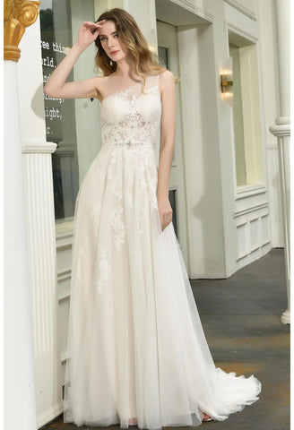 Image of Modern Bride Dresses Glamorous Embroidery Lace One Shoulder A-Line - 1
