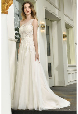 Image of Modern Bride Dresses Glamorous Embroidery Lace One Shoulder A-Line - 5