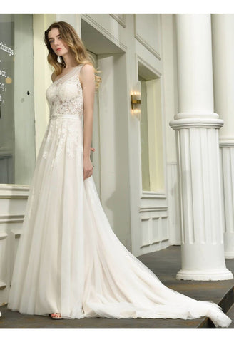 Image of Modern Bride Dresses Glamorous Embroidery Lace One Shoulder A-Line - 3