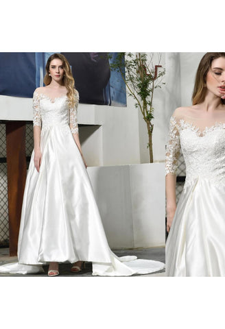 Image of Modern Bride Dresses Glamorous Embroidery Lace Satin A-Line - 6