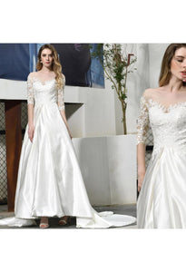 Modern Bride Dresses Glamorous Embroidery Lace Satin A-Line - 6