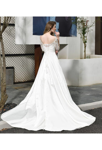 Image of Modern Bride Dresses Glamorous Embroidery Lace Satin A-Line - 3